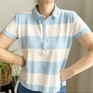 💛 New Tommy Hilfiger Stripped Blue Polo Shirt L
